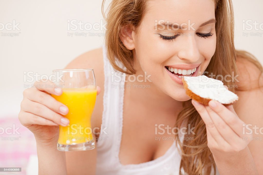 Woman healthy eating. stock photo