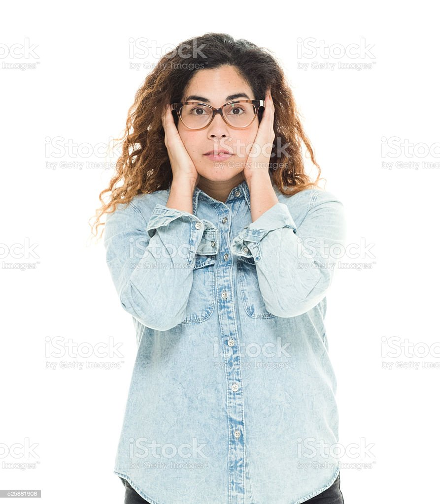 Woman hear no evil stock photo