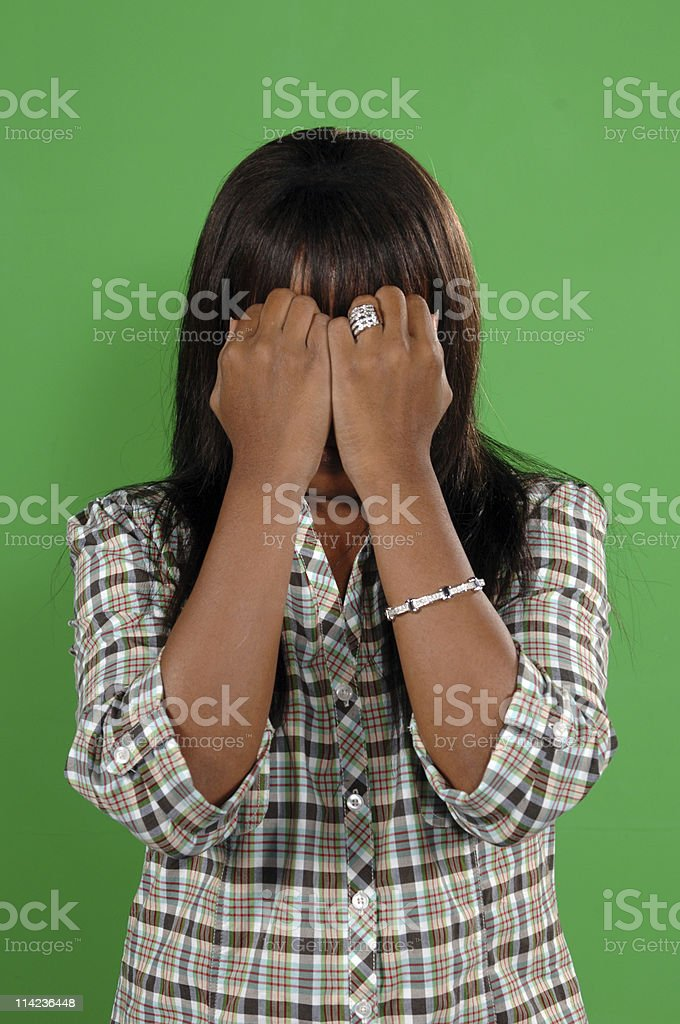 woman hiding her face royalty-free stock photo