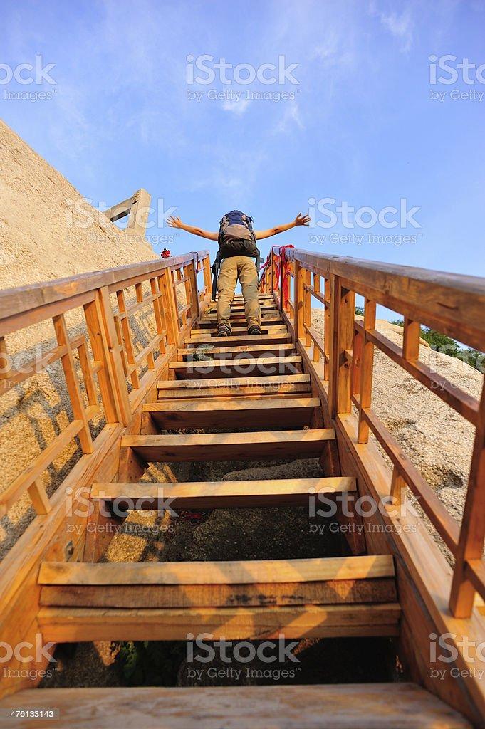 woman hiker climbing mountain huashan royalty-free stock photo
