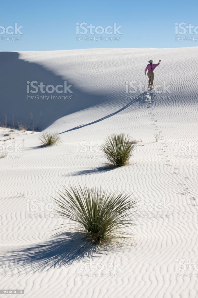 Woman hiker explores White Sands National Monument New Mexico yucca stock photo