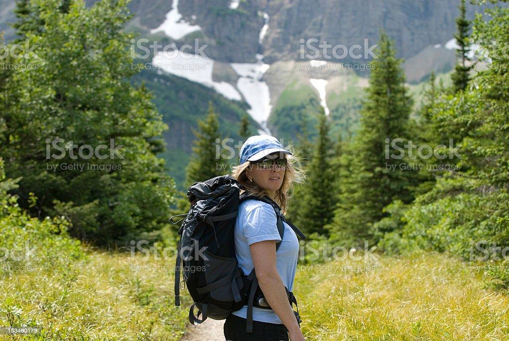 Woman hiker royalty-free stock photo