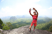 woman hiker use smartphone taking self photo