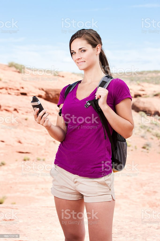 Woman Hiker With GPS stock photo
