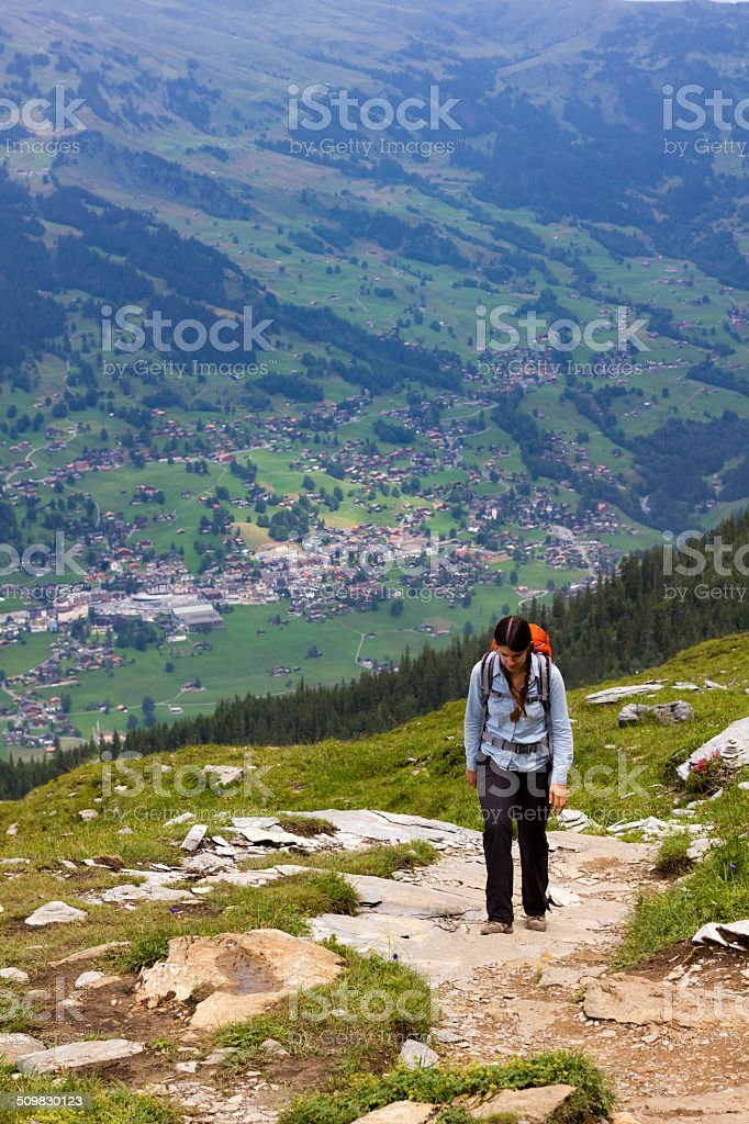 Woman Hiking about Small Town stock photo