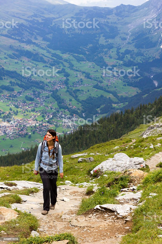 Woman Hiking and smiling stock photo