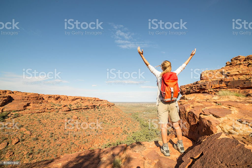 Young woman hiking celebrates achievement on top of the rock,...
