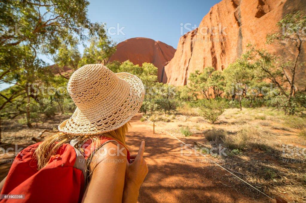 Woman hiking in Australia stock photo