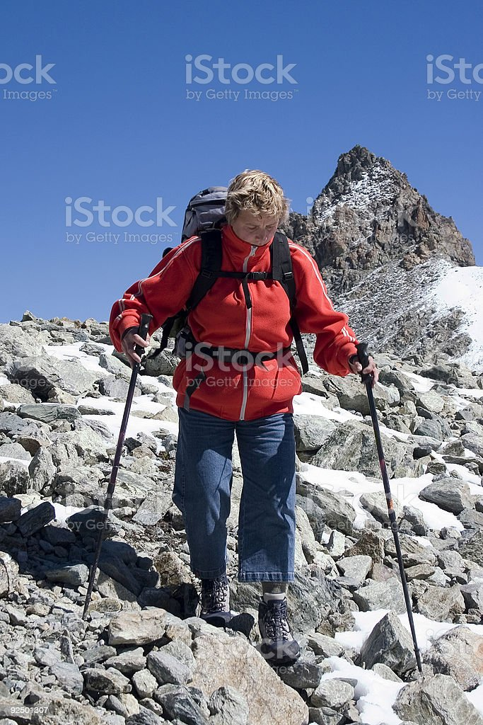 Woman hiking in Italian mountains royalty-free stock photo
