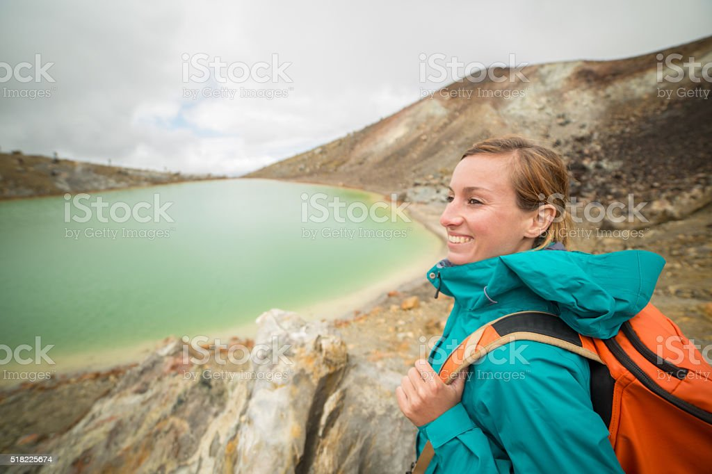 Woman hiking in New Zealand stock photo