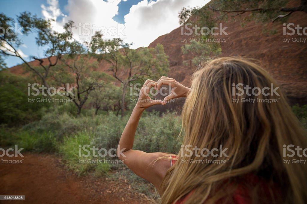 Woman hiking - loving nature stock photo