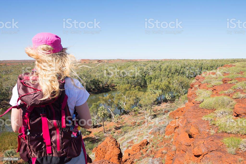 Woman hiking outback Australia stock photo