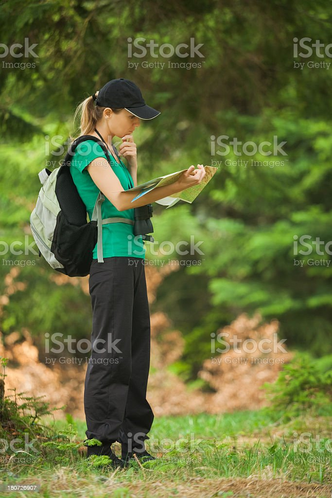 Woman hiking royalty-free stock photo