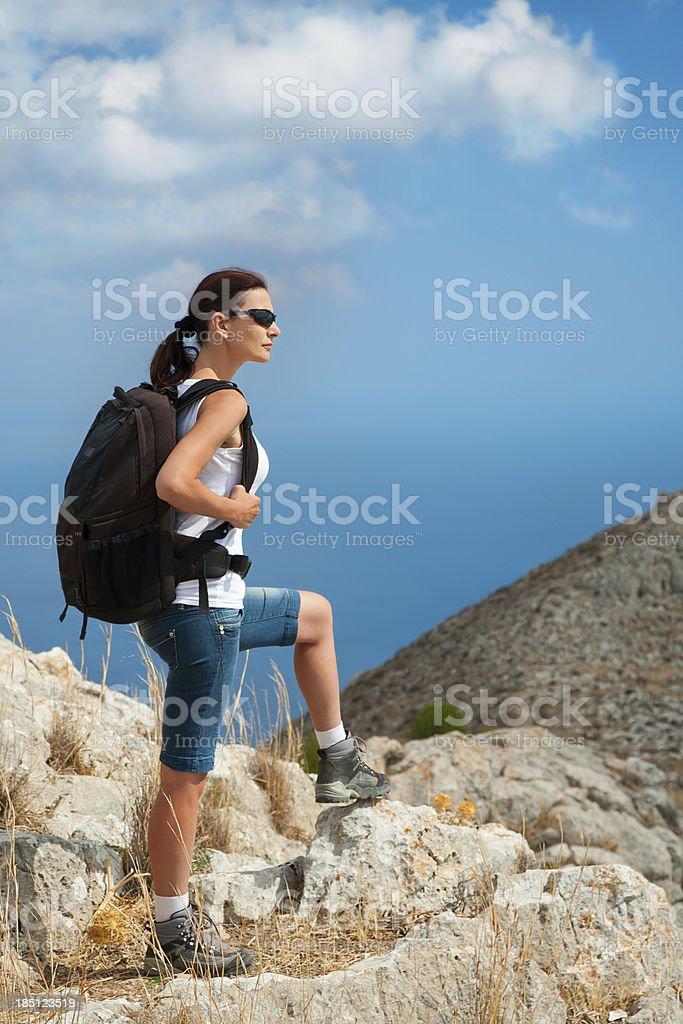 woman hiking royalty-free stock photo