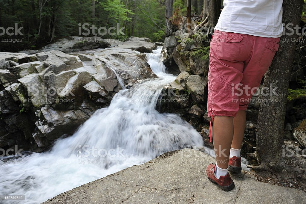Woman hiking, river, nature, outdoor stock photo