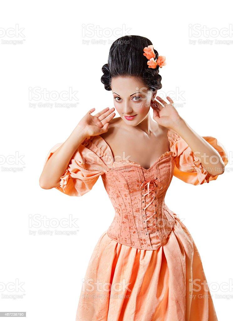 Woman Historic Baroque Costume Corset, Girl Rococo Retro Style Dress stock photo