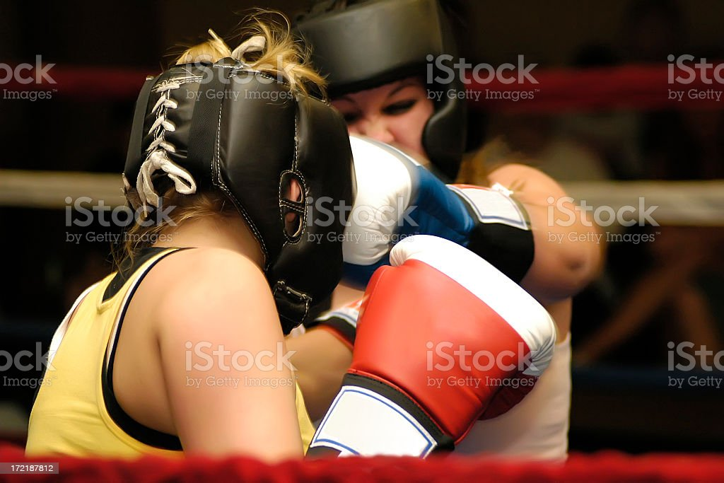 Woman hitting her opponent on box game royalty-free stock photo