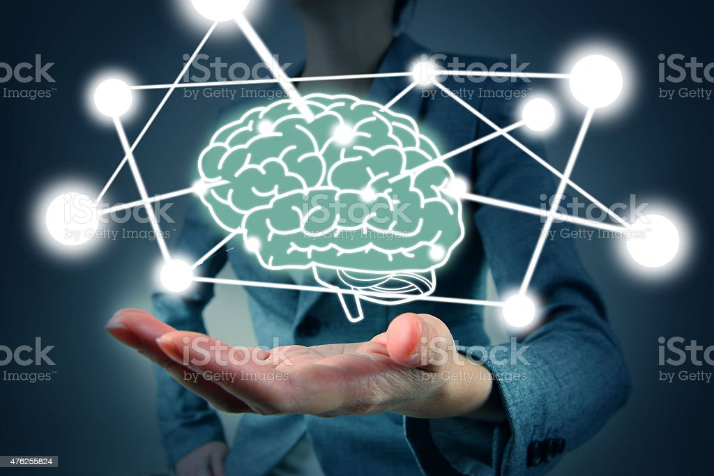 woman hold brain symbol on hand stock photo