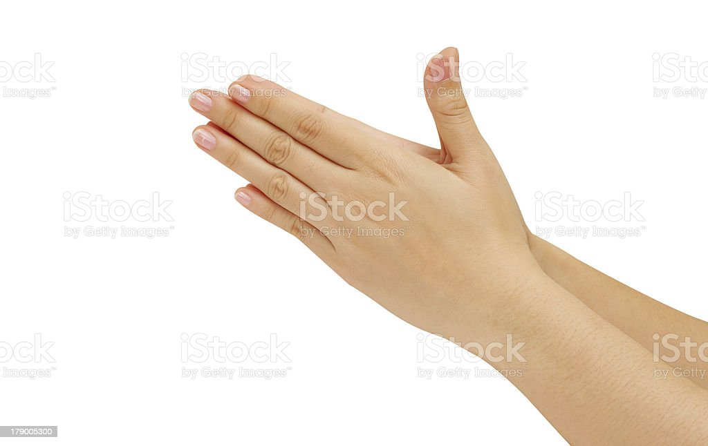woman hold hands together is symbol prayer and gratitude royalty-free stock photo