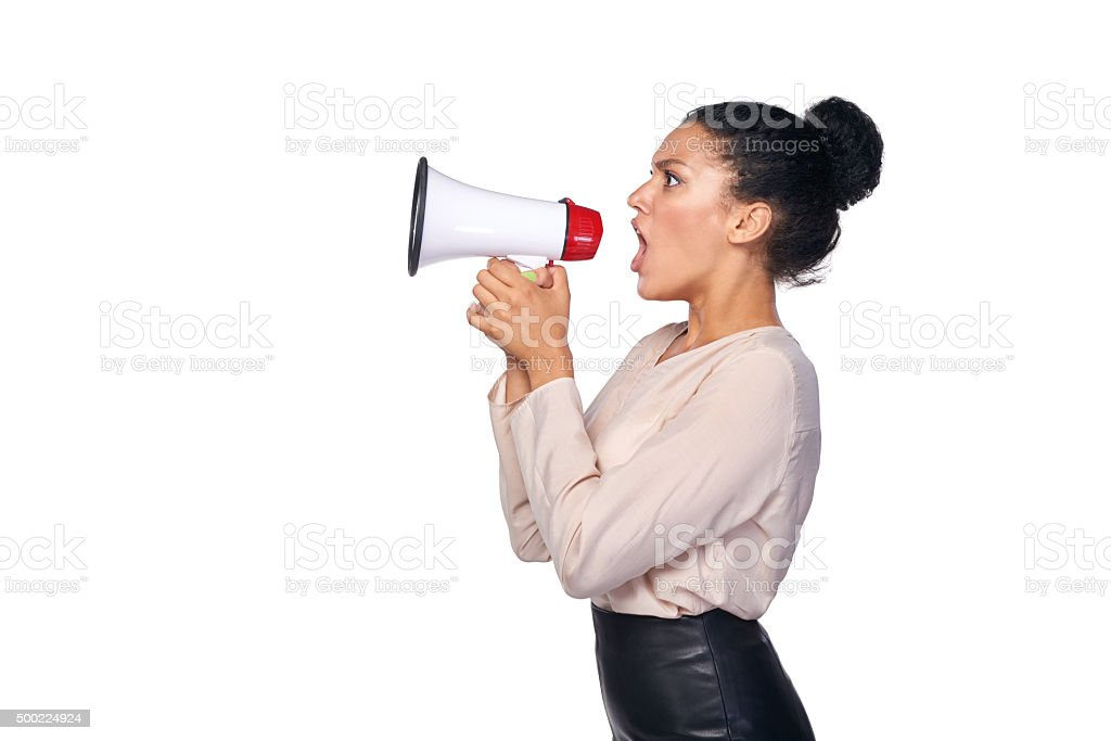 Woman hold loudspeaker stock photo
