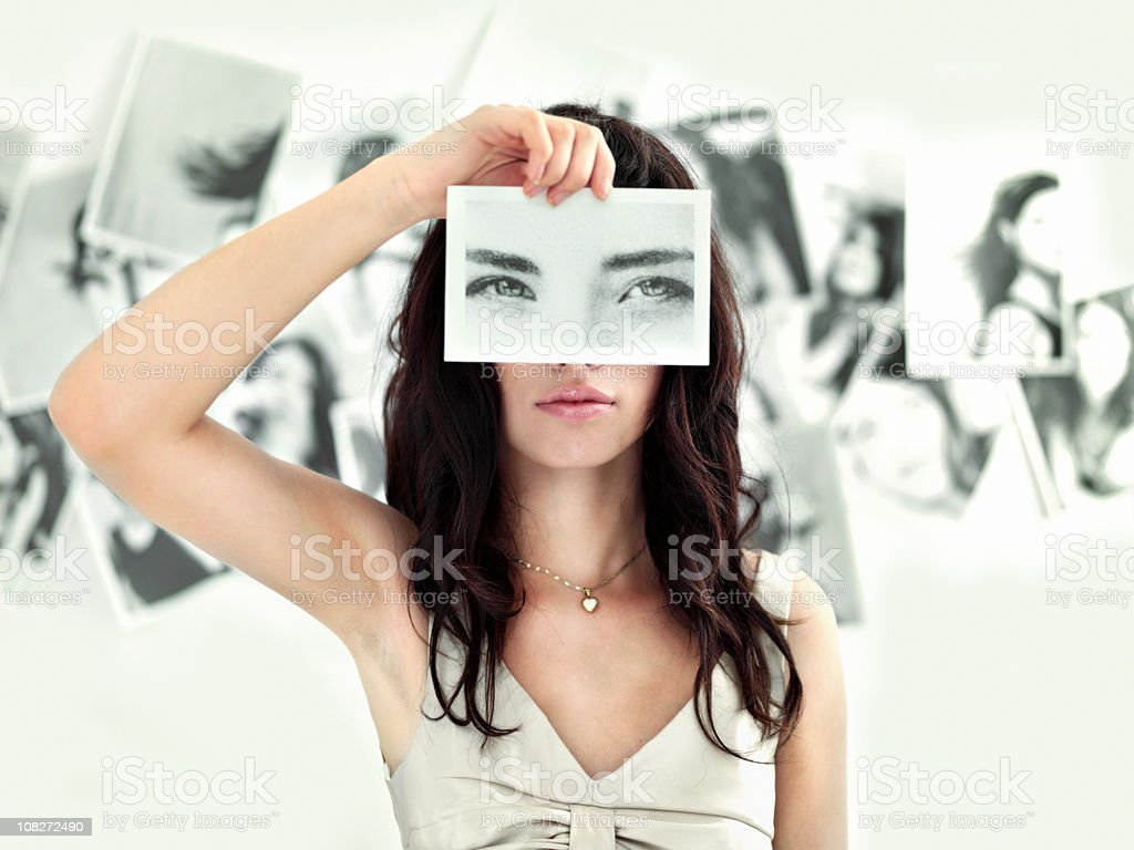 Woman hold photograph royalty-free stock photo