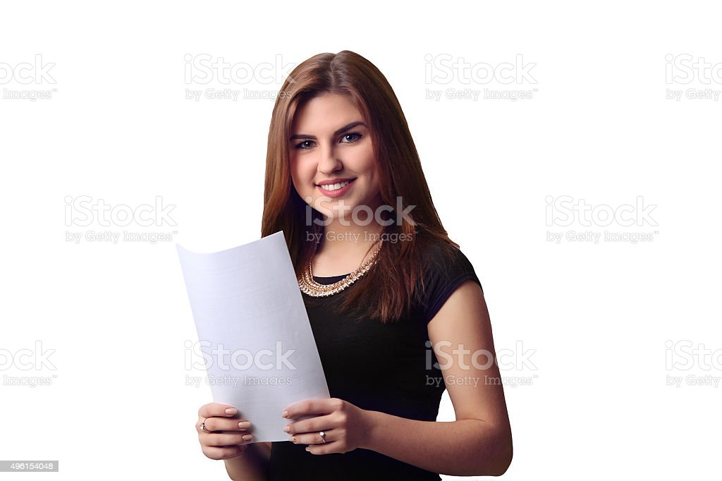 woman hold white banner. isolated portrait royalty-free stock photo