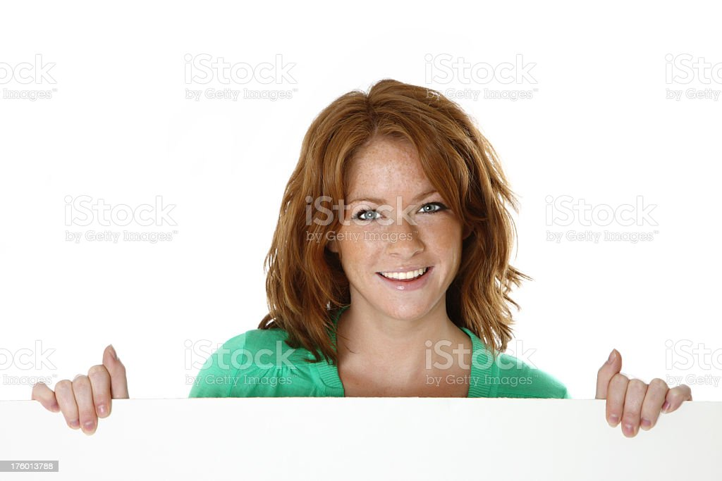 woman hold white blank royalty-free stock photo