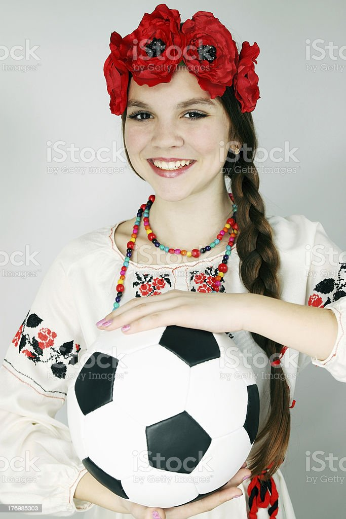woman holding a ball royalty-free stock photo