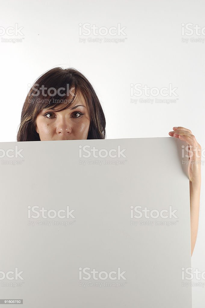 woman holding a banner royalty-free stock photo