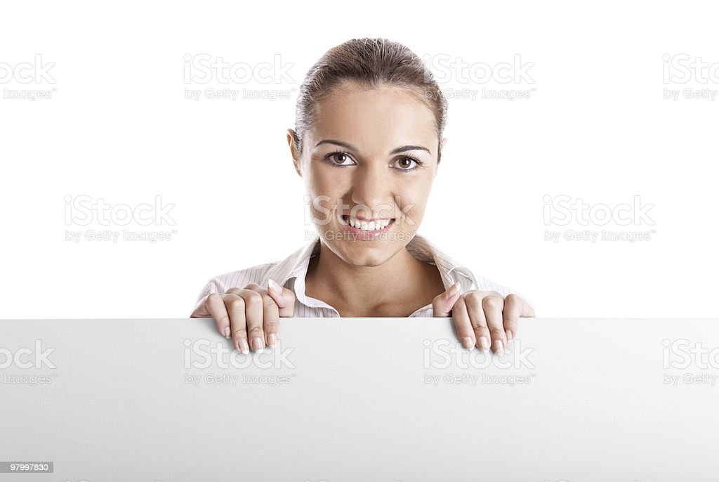 Woman holding a billboard royalty-free stock photo