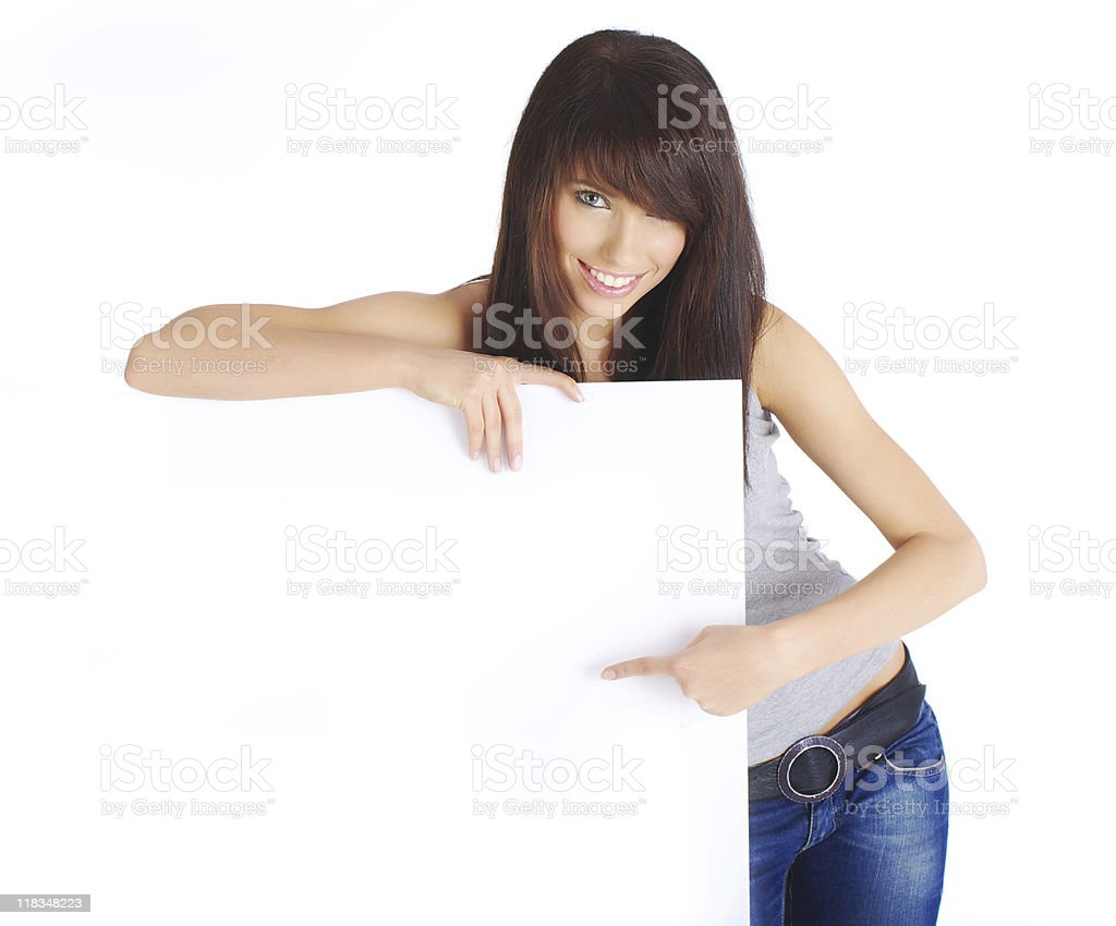 woman holding a blank billboard royalty-free stock photo