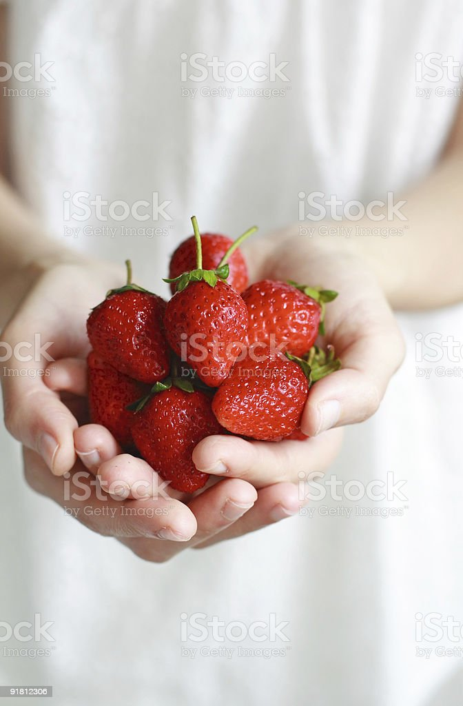 woman holding a bunch of strawberies royalty-free stock photo