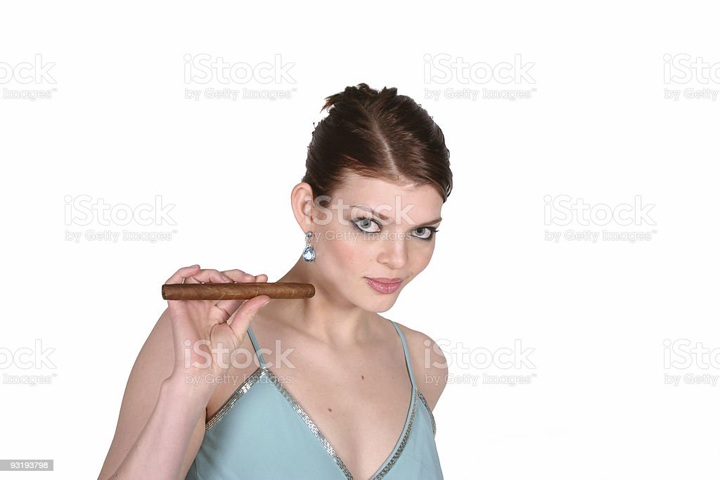 Woman Holding a Cigar stock photo