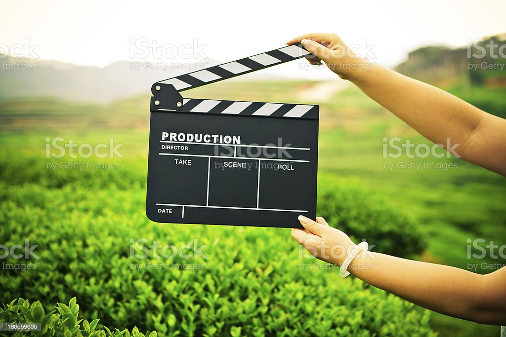 Woman holding a clapper board in front of a field stock photo