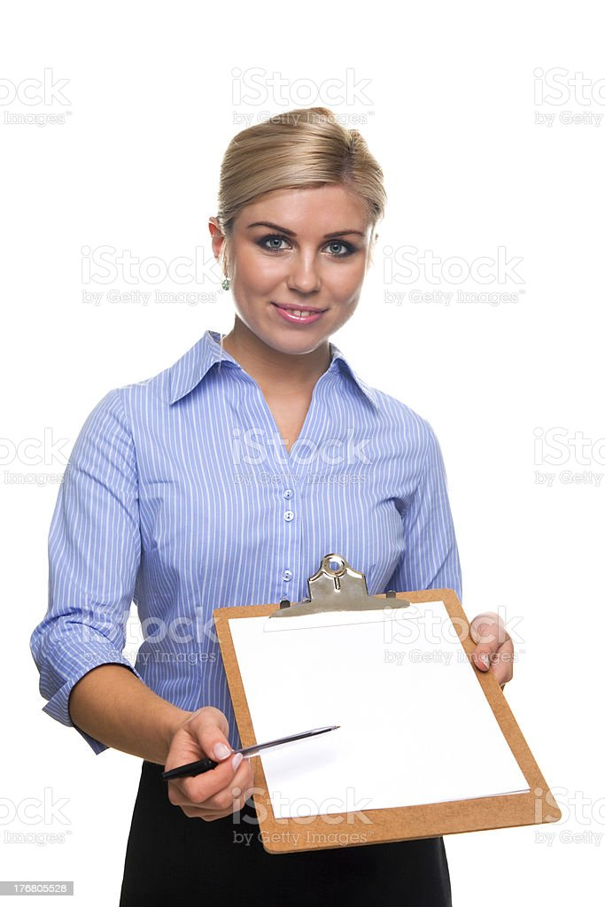 Woman holding a clipboard with blank paper cut out. royalty-free stock photo