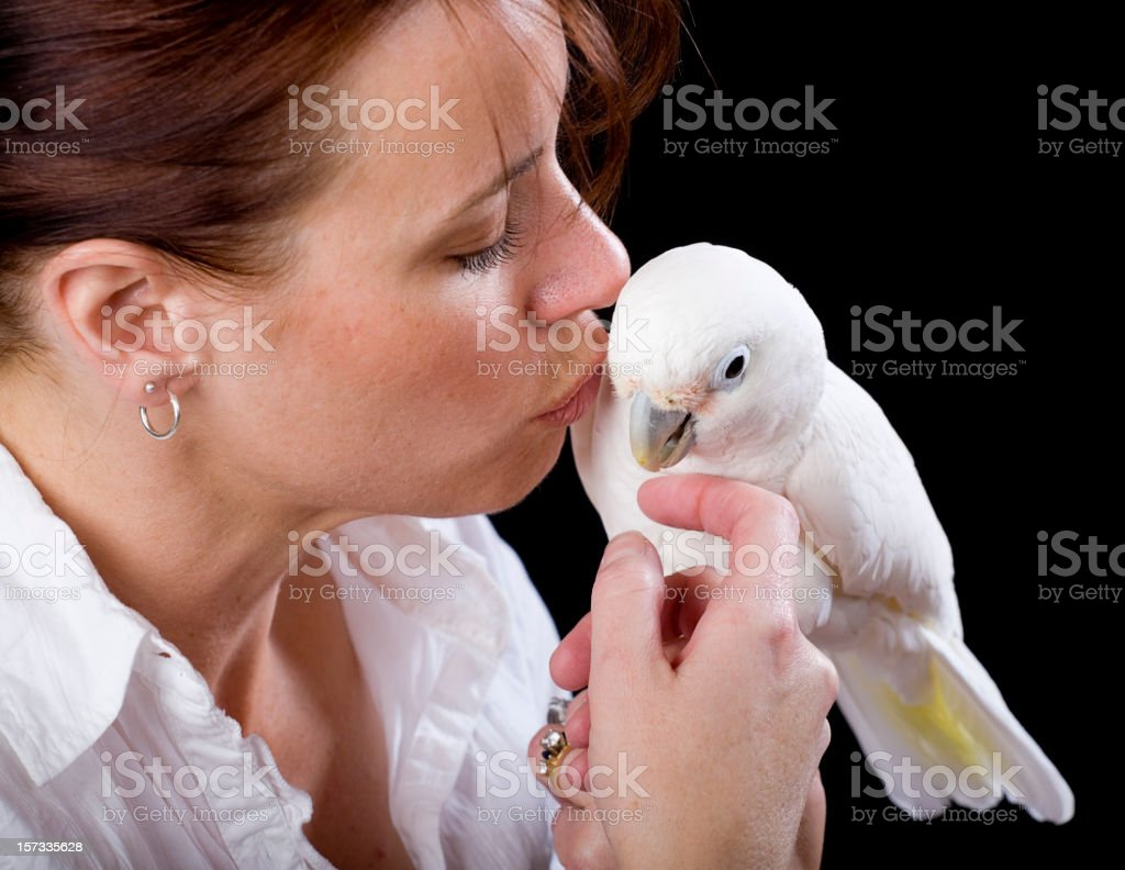 Woman Holding a Cockatoo royalty-free stock photo