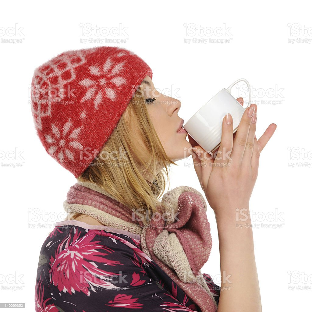 Woman holding a cup of coffee royalty-free stock photo
