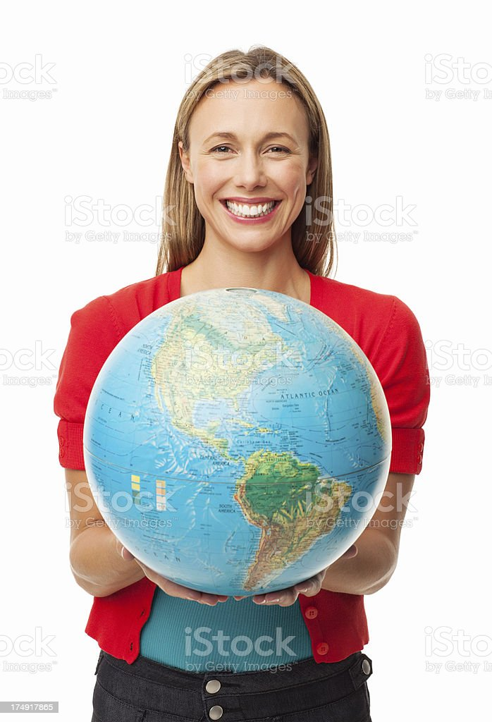 Woman Holding A Globe stock photo