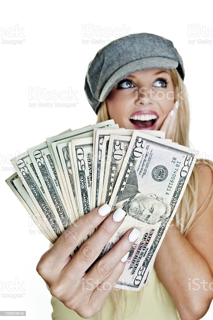 Woman holding a handful of cash royalty-free stock photo