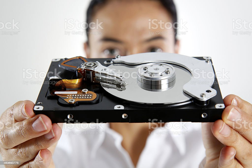 Woman Holding a Hard Disk stock photo
