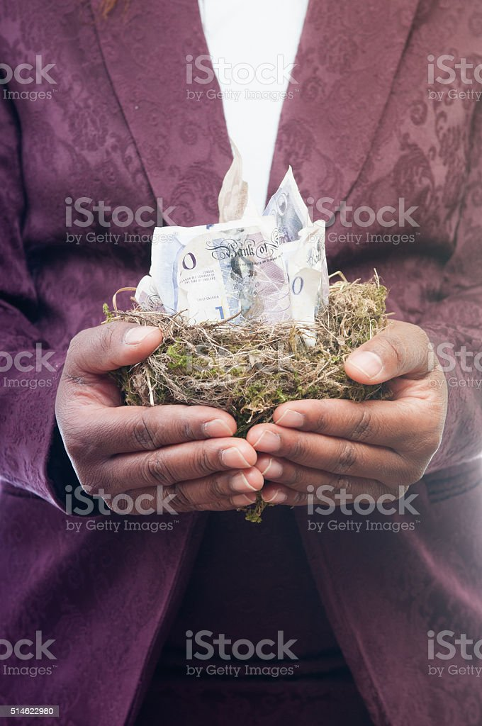 Woman Holding A Nest Egg stock photo