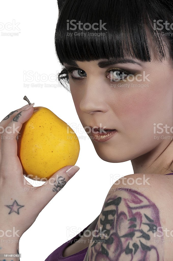 Woman Holding a Pear stock photo