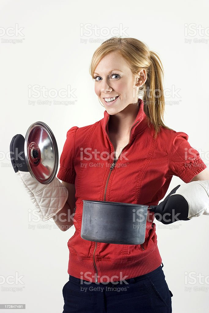 Woman holding a pot royalty-free stock photo