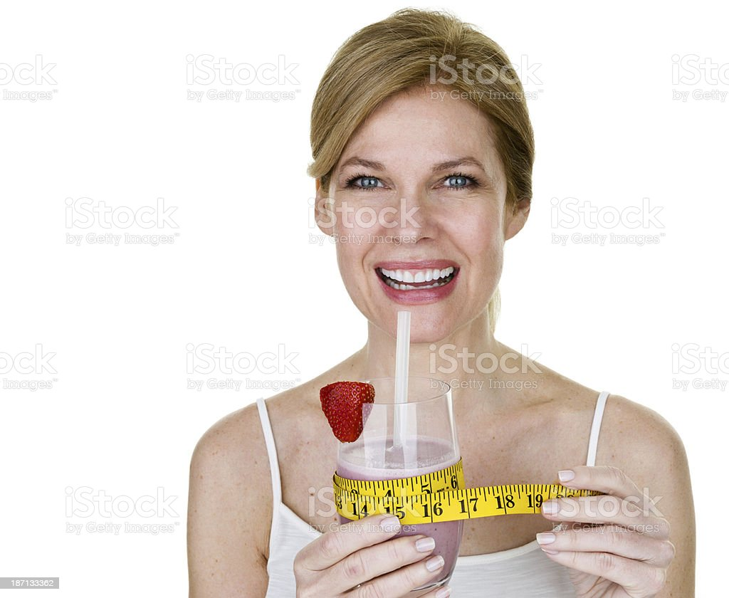 Woman holding a smoothie royalty-free stock photo