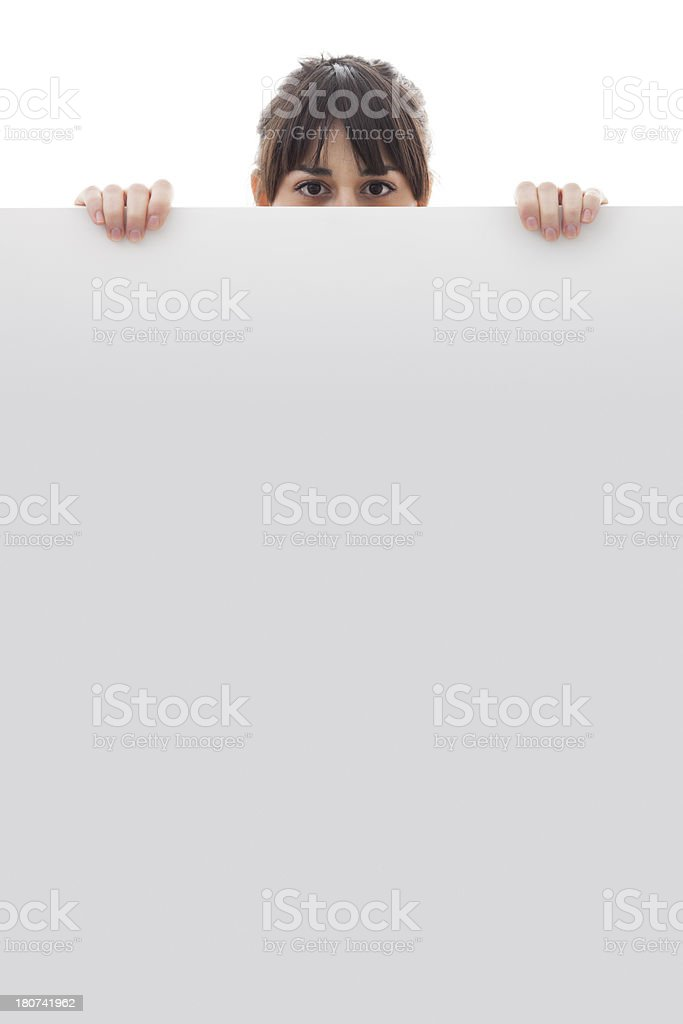 woman holding a white board with copy space royalty-free stock photo