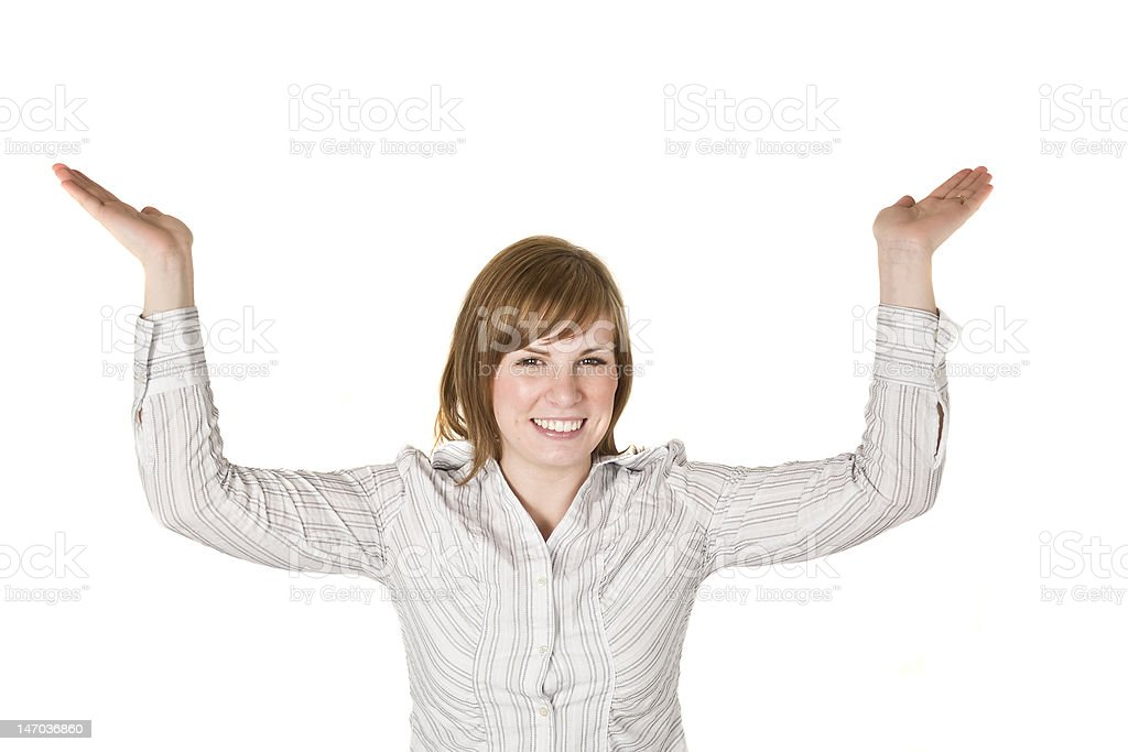 Woman holding above her head stock photo