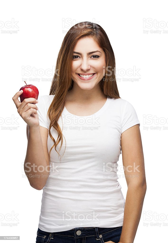 Woman holding an apple royalty-free stock photo