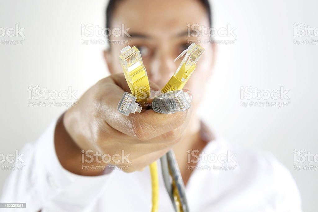 Woman Holding an Ethernet Cable royalty-free stock photo