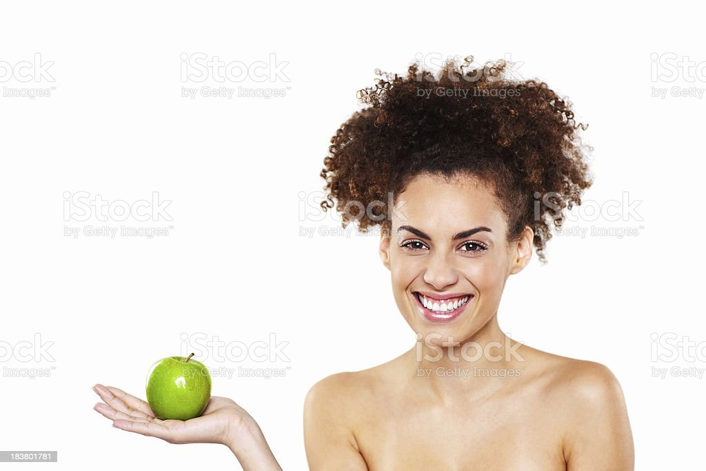 Woman Holding Apple - Isolated royalty-free stock photo
