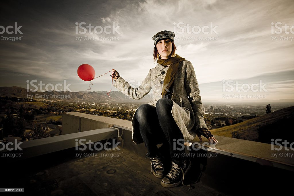 Woman Holding Balloon royalty-free stock photo